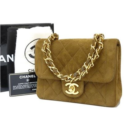 Image of Chanel mini brown suede bag