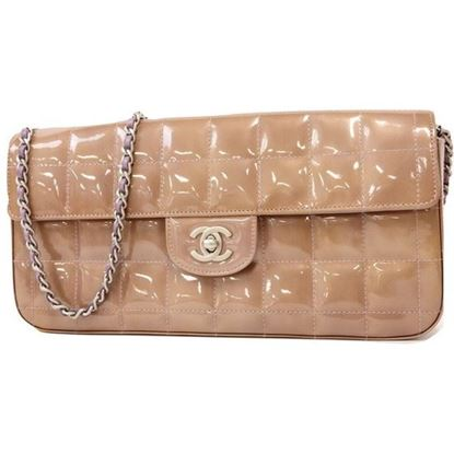 Image of Chanel patent leather chocolate bar bag