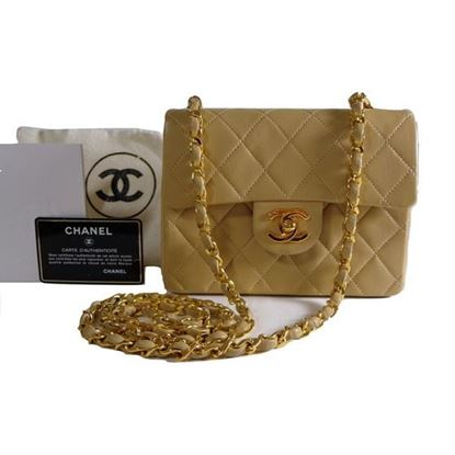 Image of Chanel beige timeless mini bag