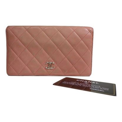 Image of Chanel pink quilted wallet