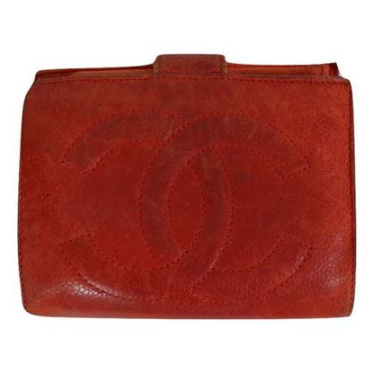 Image of Chanel red lambskin wallet