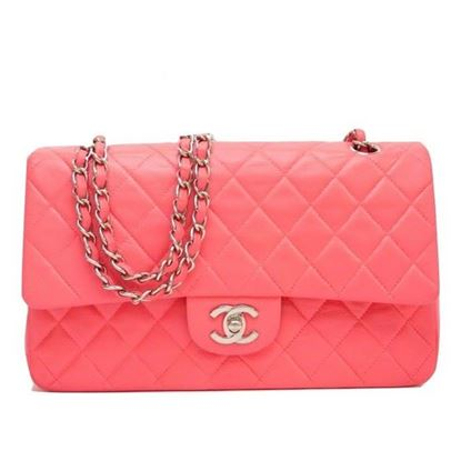 Image of Chanel pink timeless double flap bag