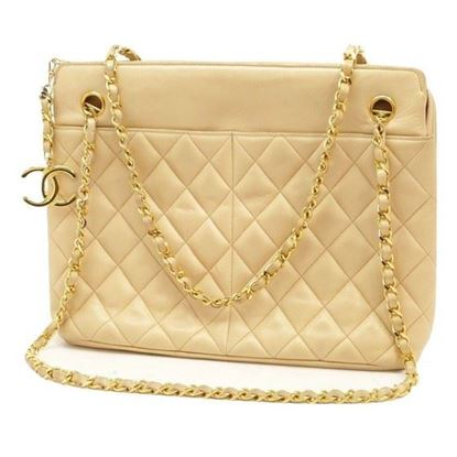 Image of Chanel beige ziptop shopper tote bag