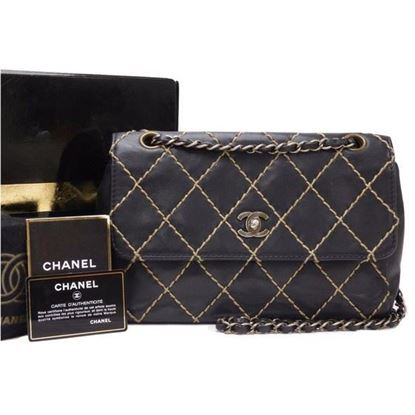 Image of Chanel wild stich double chain flap bag