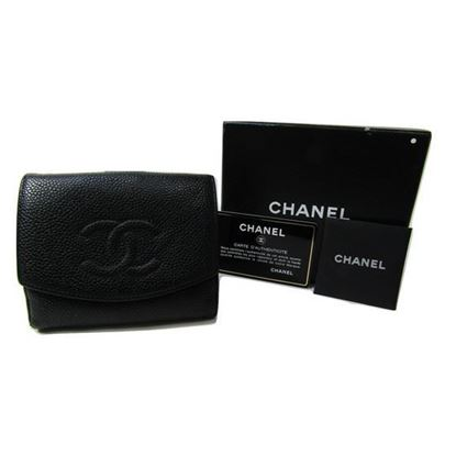 Image of Chanel black caviar cc french bifold wallet