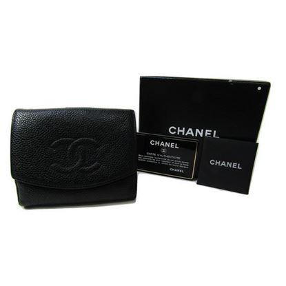 Chanel black caviar cc french bifold wallet