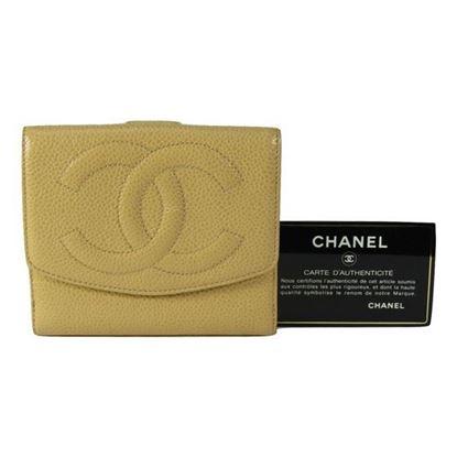 Chanel beige caviar cc french bifold wallet