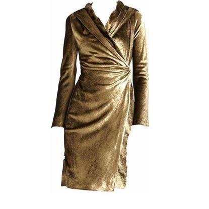 Image of Max Mara metallic gold velvet hooded wrap dress