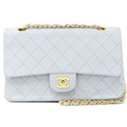 Image of Chanel baby blue medium timeless 2.55 double flap bag