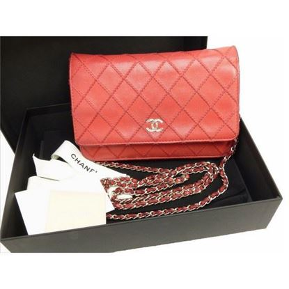 Image of Chanel red WOC, Wallet on Chain bag