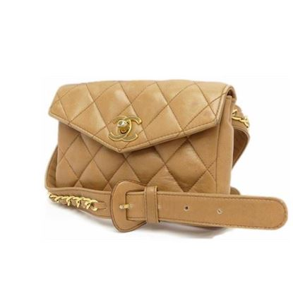 Image of CHANEL camel Lamb Skin  Waist Pouch Belt