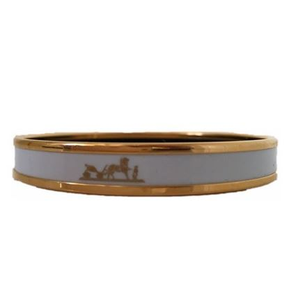 Image of HERMES White Enamel Logos Gold  Narrow Bangle Armband