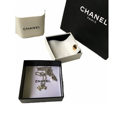Image of Chanel Rhinestone CC Heart Pendant silver Necklace