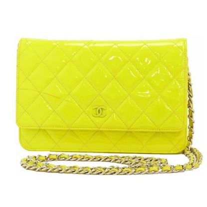 Image of Chanel patent yellow leather crossbody WOC