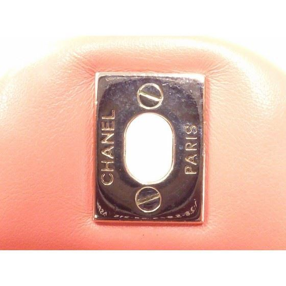Picture of Chanel salmon pink patentleather chevron bag with silver hardware