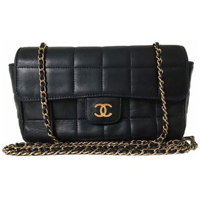 Image of Chanel black lambskin crossbody bag