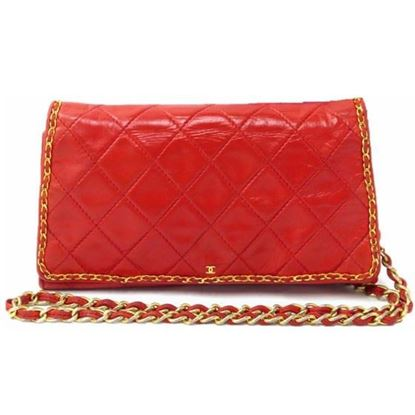 Image of CHANEL red Lambskin small chain crossbody Bag