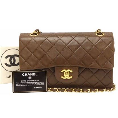 Image of Chanel medium 2.55 brown double flap bag