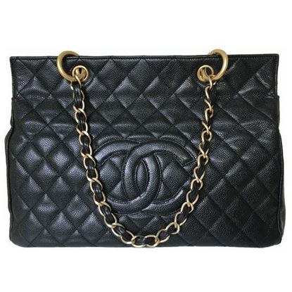 Image of CHANEL Grand Shoulder shopper hand Bag in black caviar leather