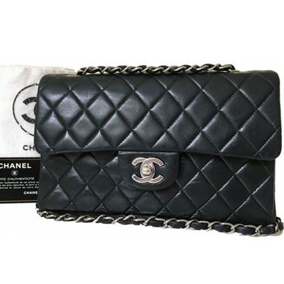 Image of Chanel timeless 2.55 classic double flap bag with silver hardware