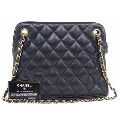 Image of Chanel navy ziptop tote shopper bag