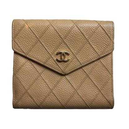 Image of Chanel beige caviar leather french bifold wallet