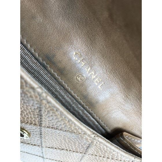 Picture of Chanel beige caviar leather french bifold wallet