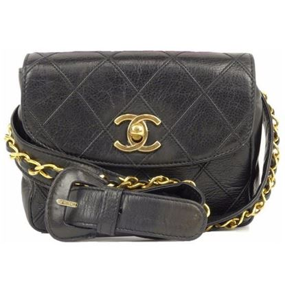 Image of CHANEL black Lamb Skin  belt bag