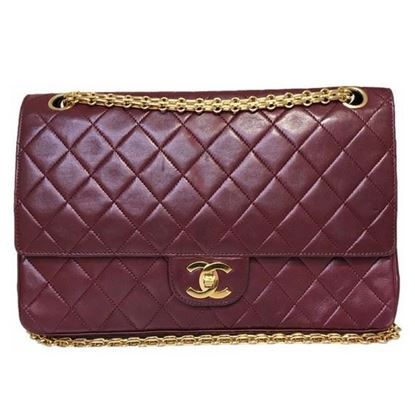 Image of Chanel burgundy medium 2.55 double flap bag with mademoiselle chain