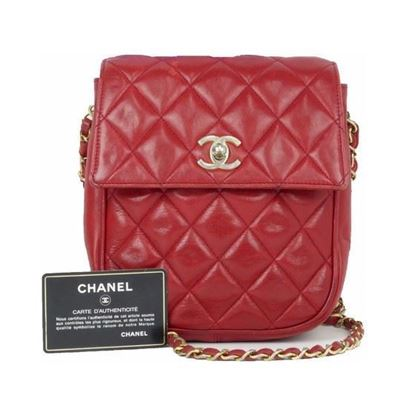 Image of Chanel  timeless classic red flap bag