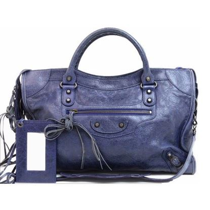 Image of Balenciaga motorcycle classic City Blue roi Leather 2 Way bag