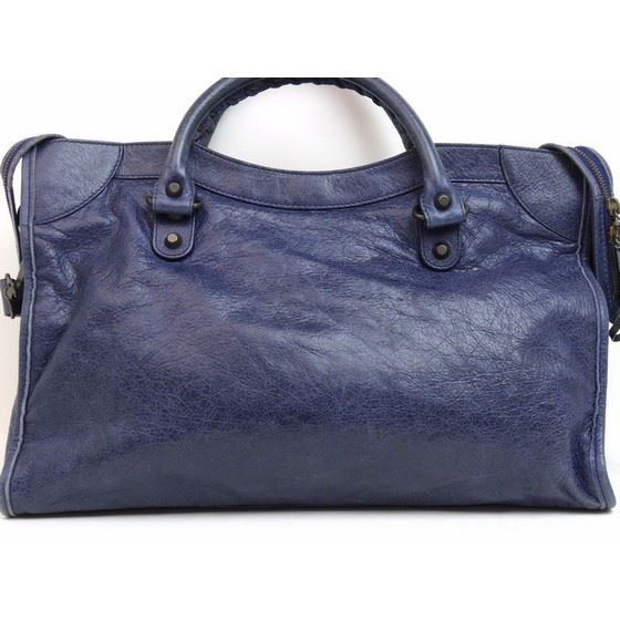 Picture of Balenciaga motorcycle classic City Blue roi Leather 2 Way bag
