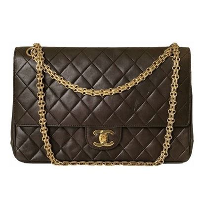 Image of Chanel medium brown double flap with mademoiselle chain