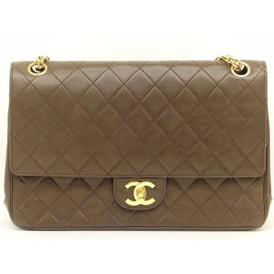 Picture of Chanel medium brown double flap with mademoiselle chain