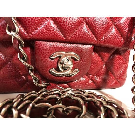 Picture of Chanel square mini red burgundy caviar leather bag with silver hardware