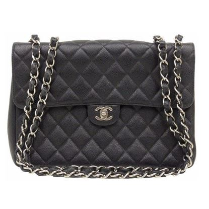 Image of Chanel jumbo timeless 2.55 black caviar  flap bag