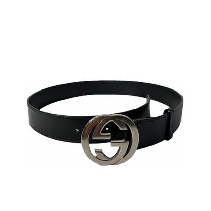 Image of Gucci black leather belt with silver interlocking G buckle