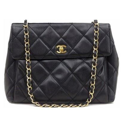 Image of Chanel black caviar skin turnlock large tote shopper bag