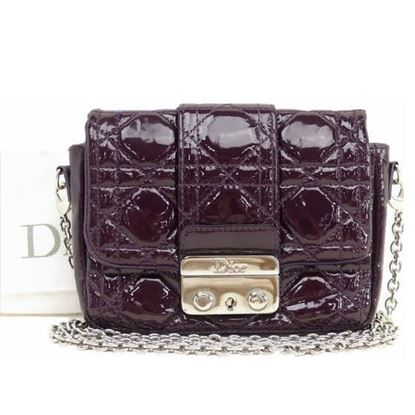 Image of CHRISTIAN DIOR Miss Dior Purple Cannage Patent Leather crossbody bag.
