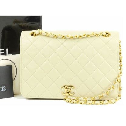 Image of Chanel 2.55 timeless beige fullflap double chain classic bag