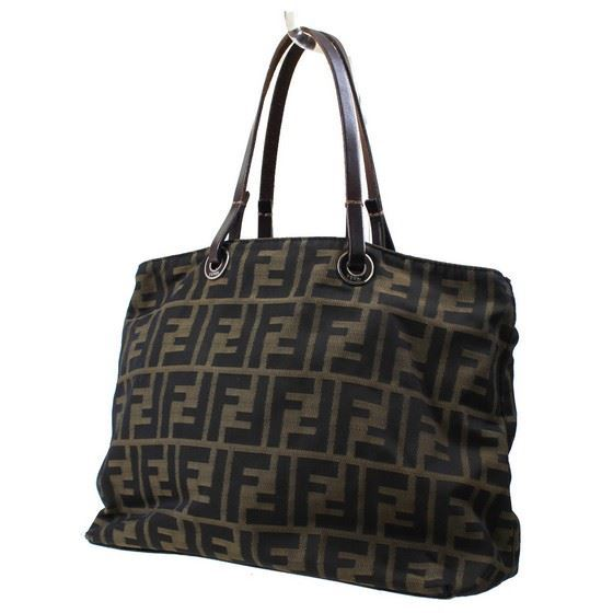 Picture of Fendi logo canvas leather bag