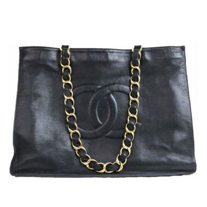 Image of CHANEL Black Lambskin Leather  Grand Shoulder Shopper Tote Bag with big chain