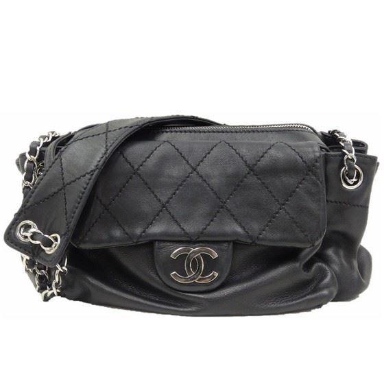 Picture of Chanel ziptop black lambskin handbag with silver hardware