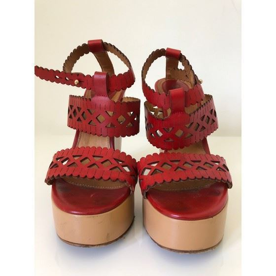 Picture of Chloe red lasercut leather wedges