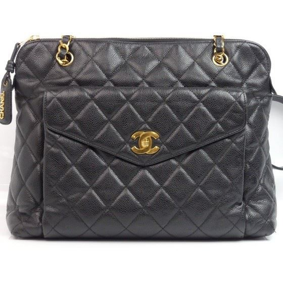 Picture of Chanel black caviar skin zip top tote shopper bag