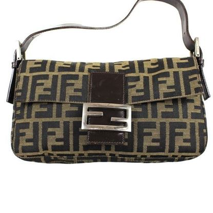Image of Fendi Zucca Pattern hobo  Mamma Baguette shoulder bag