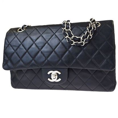 Image of Chanel medium timeless 2.55  double flap bag with silver hardware