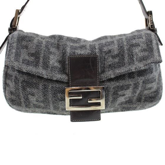 Picture of Fendi Zucca Pattern Gray Wool  Mamma hobo Baguette shoulder bag