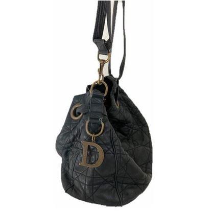 Image of Dior cannage black drawstring tote bag