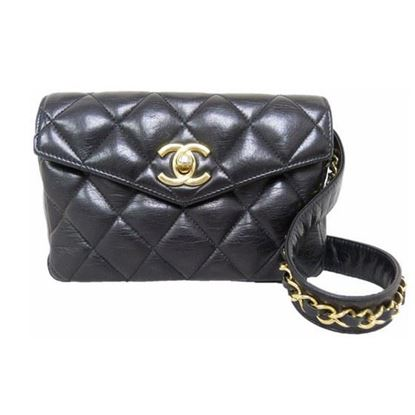 Image of CHANEL black Lamb Skin belt bag, fanny pack